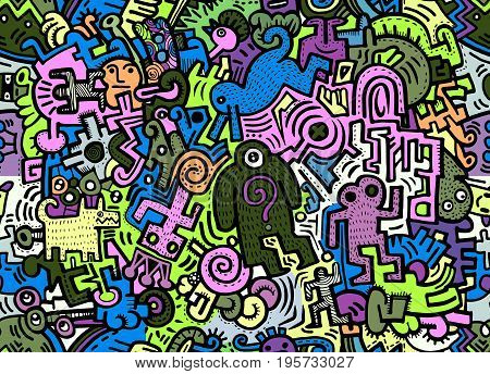 Hipster Hand Drawn Crazy Doodle Monster City,drawing Seamless Background Doodle Vector.vector Illust