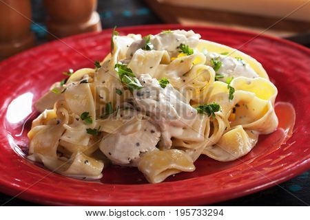 Italian fettuccine alfredo pasta in cream and cheese sauce