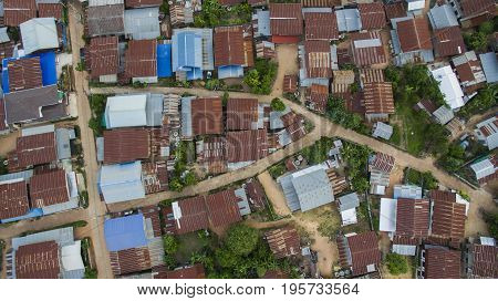aerial view of poor home roof in mahasarakarm north eastern of thailand