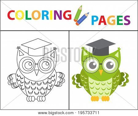 Coloring book page. Wise owl wearing glasses. Sketch outline and color version. Coloring for kids. Childrens education. Vector illustration
