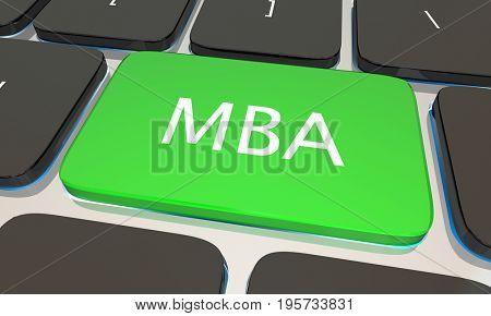 MBA Master Business Administration Online Degree Computer Key 3d Illustration