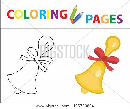 Coloring book page. School bell. Sketch outline and color version. Coloring for kids. Childrens education. Vector illustration