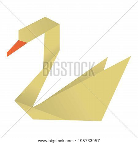 Origami swan icon. Cartoon illustration of origami swan vector icon for web