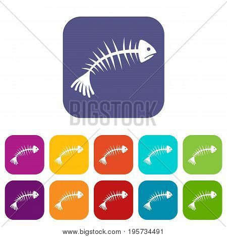 Fish bones icons set vector illustration in flat style In colors red, blue, green and other