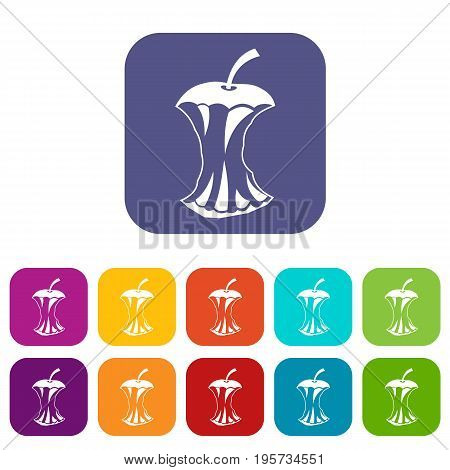 Apple core icons set vector illustration in flat style In colors red, blue, green and other