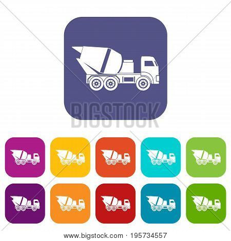 Building mixer for concrete icons set vector illustration in flat style In colors red, blue, green and other