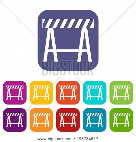Traffic barrier icons set vector illustration in flat style In colors red, blue, green and other