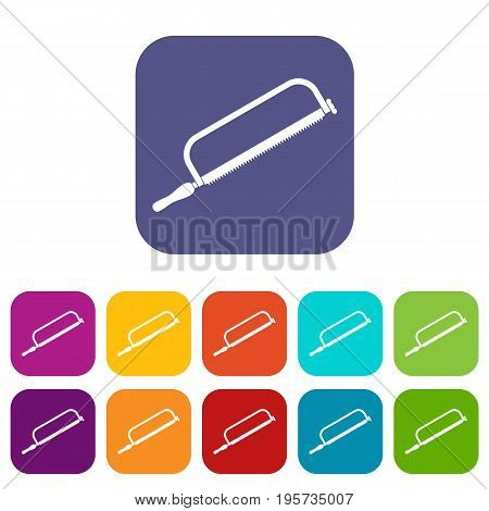 Hacksaw icons set vector illustration in flat style In colors red, blue, green and other