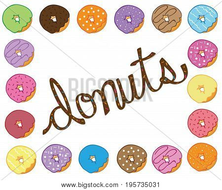 Isolated Yummy Frosted Tasty Sweet Donuts Border