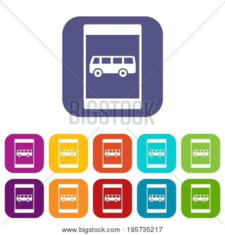 Bus stop sign icons set vector illustration in flat style In colors red, blue, green and other
