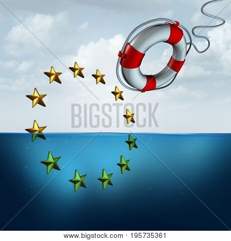 Saving the European union and Eu euro protection as a political and economic crisis insurance concept as a life buoy or saver saving the Europe flag stars with 3D illustration elements.