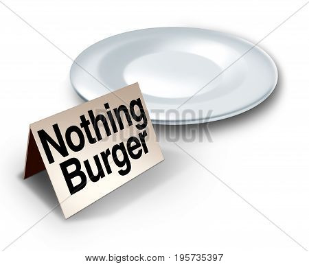 Nothing burger or nothingburger phrase concept as an empty plate with text on a label representing fake news investigation or insignificant media information that lacks substance or guilt as a political hoax 3D illustration.