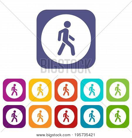 Pedestrians only road sign icons set vector illustration in flat style In colors red, blue, green and other