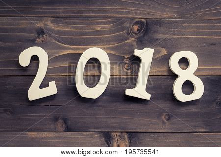 New Year Concept For 2018 : Wood Numbers 2018 On Wood Table Background.