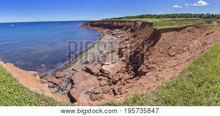 Red Rocks On Cavendish Beach Pano, Prince Edward Island