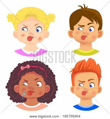 Set of girls and boy character. Children emotions. Facial expression. Set of emoticons. Flat vector illustration. Tongue