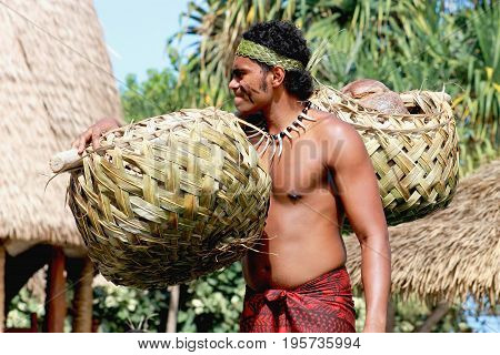 Honolulu Hawaii - May 27 2016:A Samoan man carrying coconuts in a traditionally woven pair of baskets in the village of Samoa at the Polynesian Cultural Center.