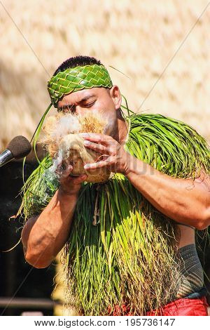 Honolulu Hawaii - May 27 2016:A Samoan Man demonstrating how to start fire using a coconut at Polynesian Cultural Center.
