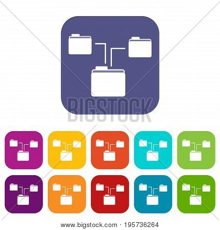 Folders structure icons set vector illustration in flat style In colors red, blue, green and other