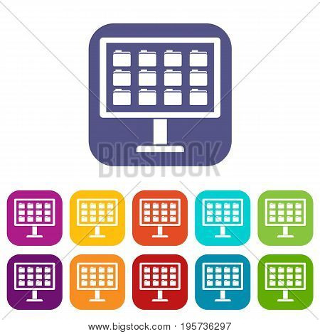 Desktop of computer with folders icons set vector illustration in flat style In colors red, blue, green and other