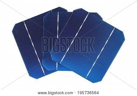 Three cells of the solar panel isolated on a white background.