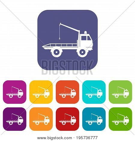 Car towing truck icons set vector illustration in flat style In colors red, blue, green and other