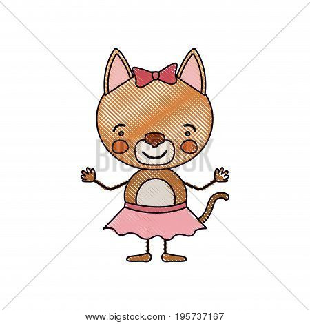 color crayon silhouette caricature of cute expression female cat in skirt with bow lace vector illustration