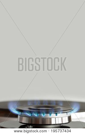 Propane Gas Burner On Stove On Background With Copyspace.