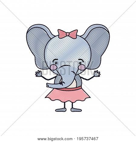 color crayon silhouette caricature of cute expression female elephant in skirt with bow lace vector illustration