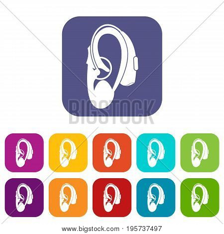 Hearing aid icons set vector illustration in flat style In colors red, blue, green and other