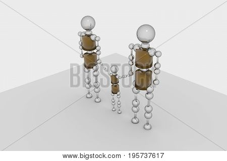 Family of robots. 3D rendering. grey background.