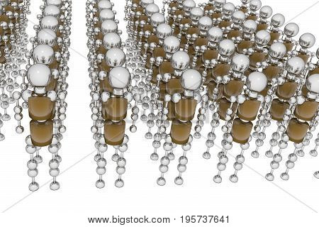 Army of robots. 3D rendering. Abstraction .