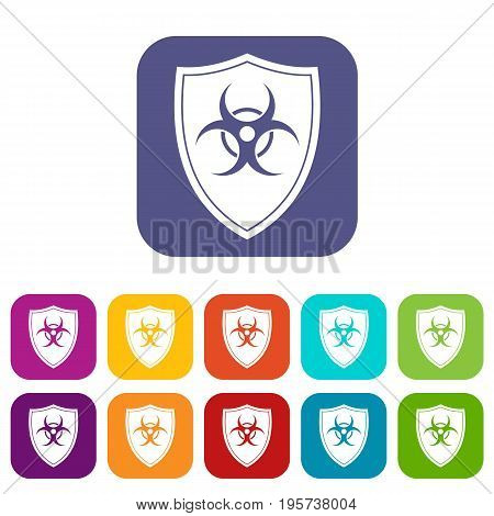 Shield with a biohazard sign icons set vector illustration in flat style In colors red, blue, green and other
