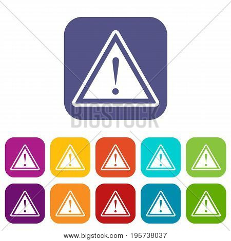 Hazard warning attention sign with exclamation mark icons set vector illustration in flat style In colors red, blue, green and other