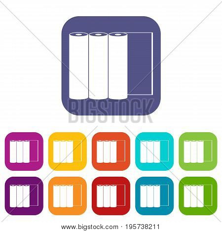 Rolls of paper icons set vector illustration in flat style In colors red, blue, green and other