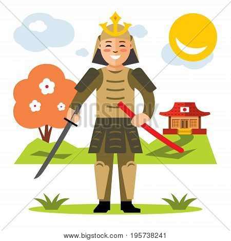 Warrior in armor with a sword. Isolated on a white background