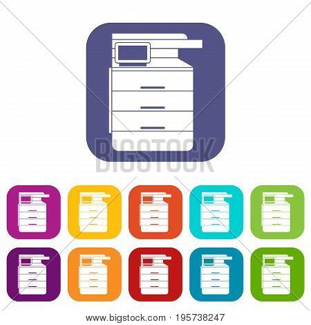 Multipurpose device, fax, copier and scanner icons set vector illustration in flat style In colors red, blue, green and other