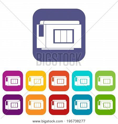 Inkjet printer cartridge icons set vector illustration in flat style In colors red, blue, green and other
