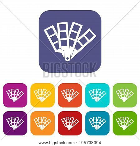 Color palette guide icons set vector illustration in flat style In colors red, blue, green and other