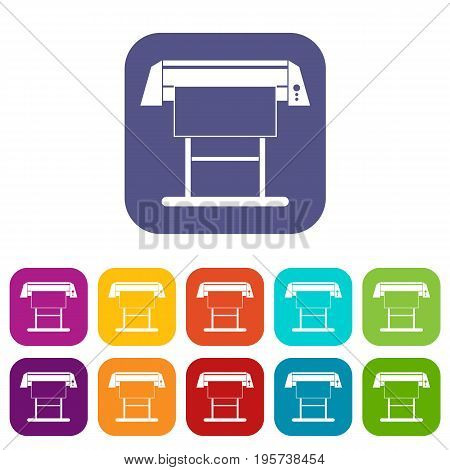 Large format inkjet printer icons set vector illustration in flat style In colors red, blue, green and other