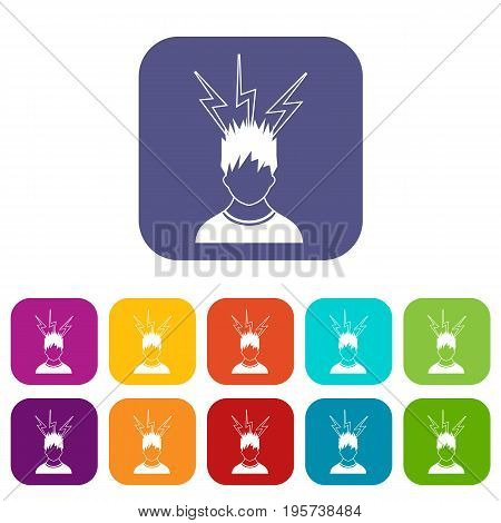 Lightning above the head of man icons set vector illustration in flat style In colors red, blue, green and other