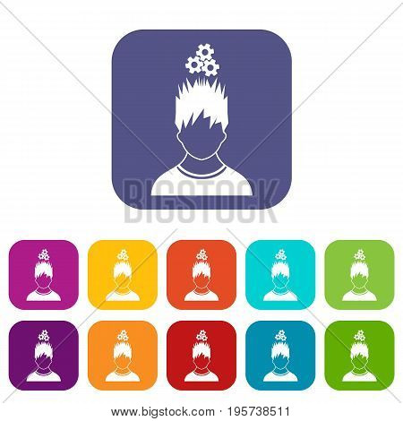 Man with metal gears over head icons set vector illustration in flat style In colors red, blue, green and other