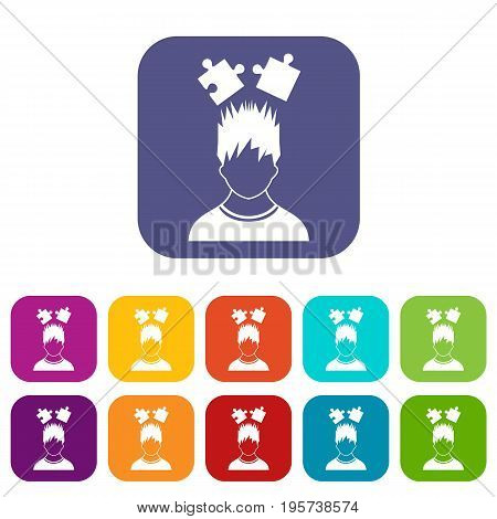 Man with puzzles over head icons set vector illustration in flat style In colors red, blue, green and other