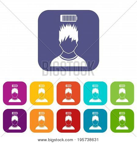 Man with low battery over head icons set vector illustration in flat style In colors red, blue, green and other