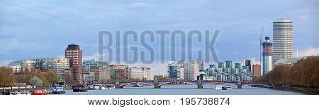 London Skylines Skyscrapers along River thames England UK