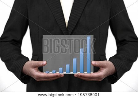 businesswoman hold up trend business sale graph on hand