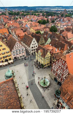 Aerial view of Rothenburg ob der Tauber historic town downtown Franconia, Bavaria, Germany