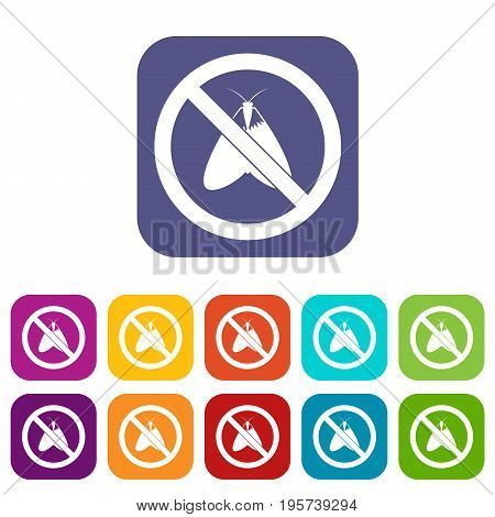 No moth sign icons set vector illustration in flat style In colors red, blue, green and other