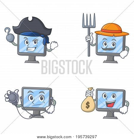 Set of monitor character with pirates farmer doctor money bag vector illustration