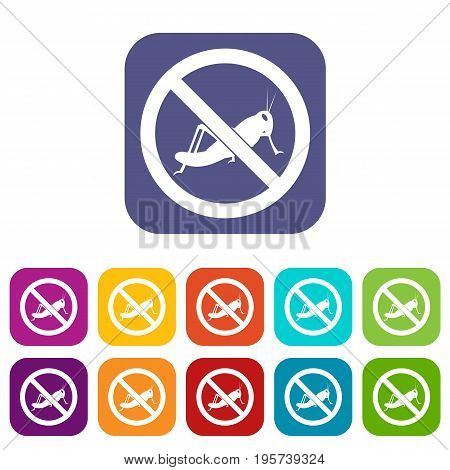 No locust sign icons set vector illustration in flat style In colors red, blue, green and other